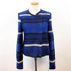 NWOT LOFT Chunky Knit Zip Front Striped Sweater M